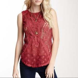 Free People Not So Sweet Victorian Lace Tank